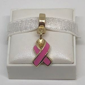 Jewelry - Gold Pink Dangle Enamel Ribbon of Hope Charm